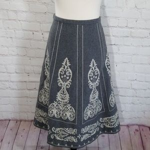 Boden Grey Wool White Embroidered Skirt